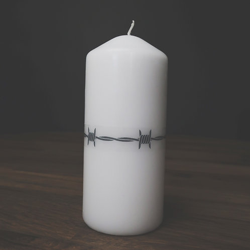 large barbed wire candle