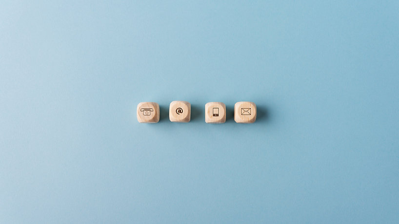 contact-and-communication-icons-on-woode