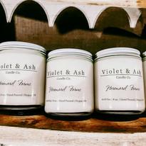 Violet + Ash Candles at Hereward Farms Lavender Lounge + Boutique