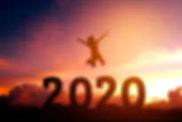 2020 Newyear Silhouette young woman jump