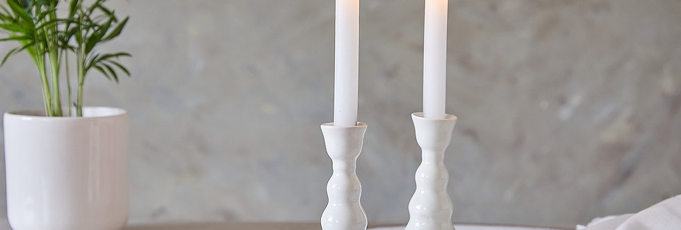 White Candlesticks, Judaic Gifts, Ceramic Candle Holders, Pottery Candlestick Holder
