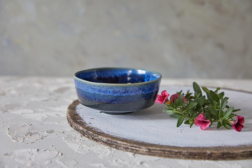Dark Blues Pottery Serving Bowl, Asian Soup Bowl, Japanese Ceramic Rice Bowl, Ceramic Nesting Bowl, Modern Handmade Pottery Gift