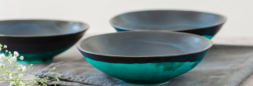 Modern Soup Bowl, Black & Turquoise Ceramic Bowl, Handmade Pottery Dish, Salad Serving Bowl, Contemporary Ne