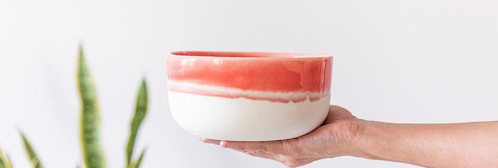 Modern Japanese Noodles Bowl, Ceramic Ramen Bowl, Pottery Serving Bowl, Salad Bowl, Ceramic Nesting Bowl, White and Coral Din