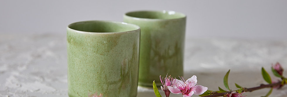 Green Ceramic Cups, Coffee Tumblers Cups Set, Stoneware Teacups, Double Espresso Cup, Japanese Design Cups