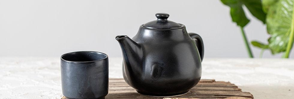 Modern Black Ceramic Teapot, Pottery Teapot