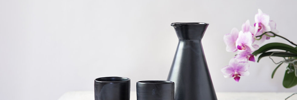 Black Pitcher and Cups Set, Modern Ceramic Pitcher, Cold Drinks Pitcher