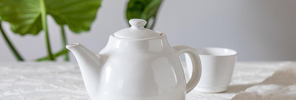 White Ceramic Teapot, Classic Pottery Teapot, Handmade Designer Pottery