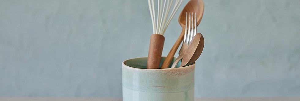 Ceramic Turquoise Utensil Holder, Pottery Jar, Knives And Spoon Holder, Storage Jar, Stoneware Vase, Kitchen Utensil Pot