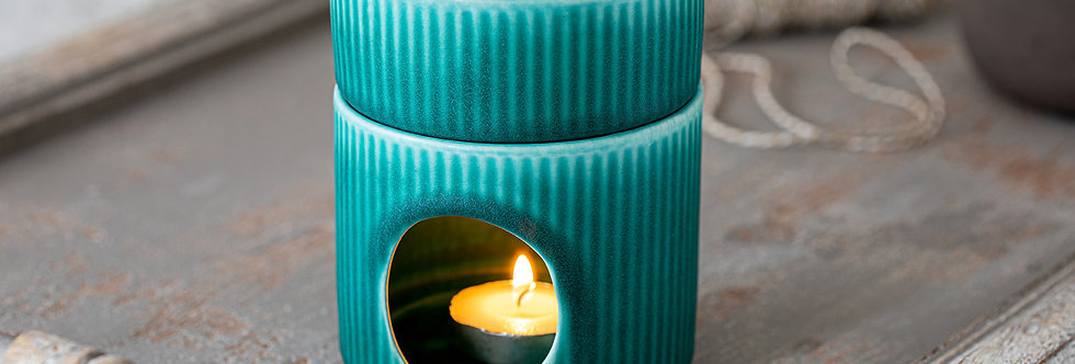 Essential Oil Burner, Aromatherapy Pottery, Turquoise Candle Warmer, Ceramic Oil Diffuser, Stripy Texture Burner