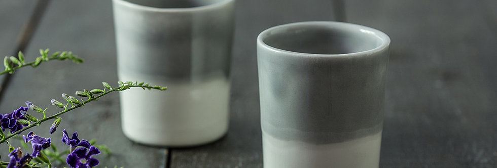 Ceramic Espresso Cup, 2 Modern Pottery Set, Ceramic Tumbler Cup, Scandinavian Coffee Cup, Gray White Drink-ware Set
