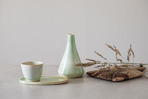 Ceramic Decorative Set, Modern Sake Bottle, Celadon Pottery Set, Light Green Cup & Saucer, Olive Oil Jag, Japanese Design, Espresso Cup Set