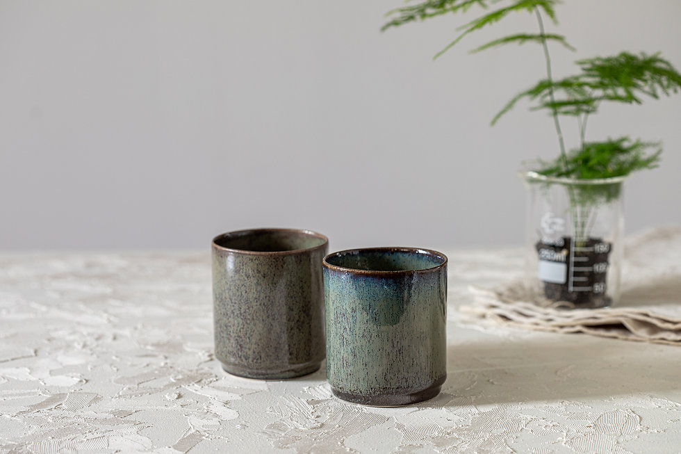 Ceramic Coffee And Tea Cups, Double Espresso Cup Set, Japanese Design, Blue & Brown Stoneware, Modern Pottery Gift, Contemporary Ceramic