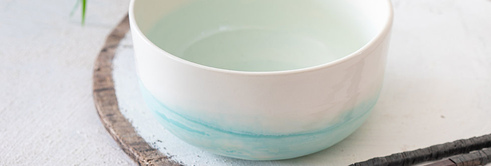 Modern Japanese Noodles Bowl, Ceramic Ramen Bowl, Pottery Serving Bowl, Salad bowl, Ceramic Nesting Bowl, White & Light Turqu