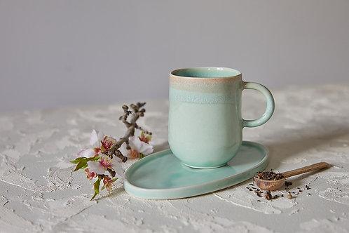 ספל ותחתית מקרמיקה בעבודת יד, ספל/מאג לקפה או תה, צלוחית לעוגיה, קרמיקה טורקיז