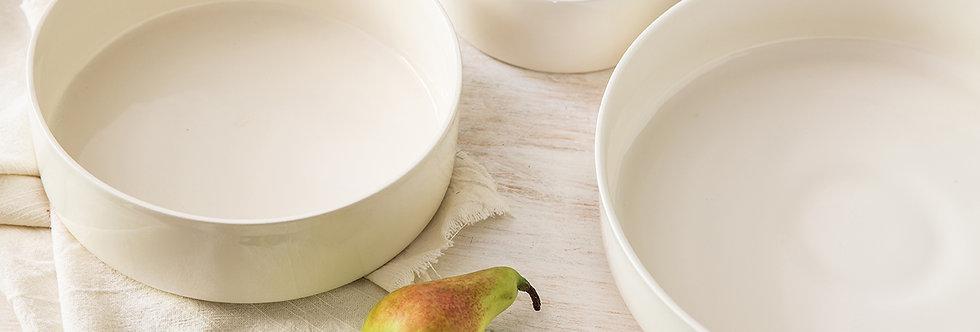White Serving Bowls, 3 Pottery Bowls Set, Dinnerware Set, Ceramic Tableware, Ceramic Baking Bowl, Serving Dish, Wedding Gift,