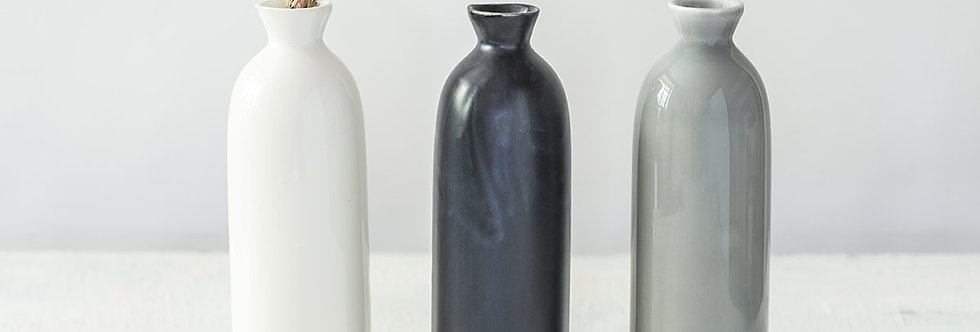 Black Ceramic Bottle, Minimalist Flower Vessel, Gray Ceramic Vase, White Modern Vase
