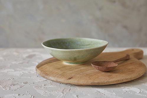 קערת מרק מקרמיקה בעבודת יד, קערת הגשה ירוקה