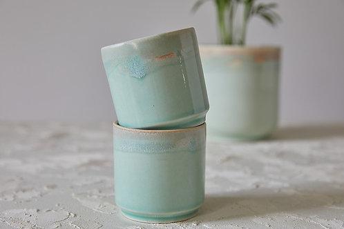 כוס קרמיקה לאספרסו ארוך או תה, כוס קרמיקה בעבודת יד, כוס קרמיקה טורקיז