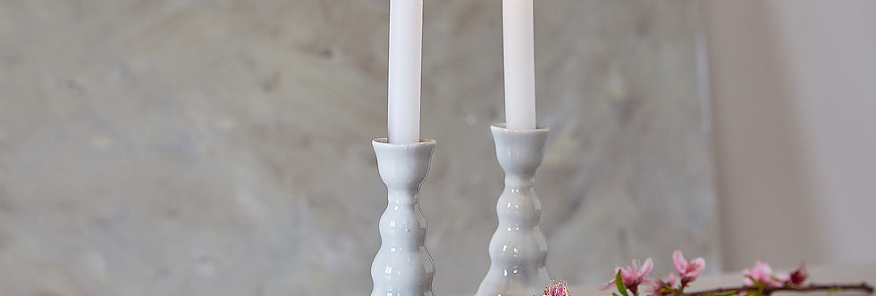 Sabbath Candle holders, Pair of Gray Tall Candlesticks, Ceramic Candle Holders