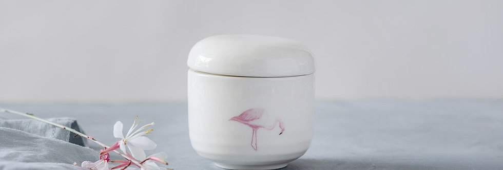 White Ceramic Jar with Lid, Japanese Sugar Bowl, Hand-Painted Flamingo Pottery Jewelry Box