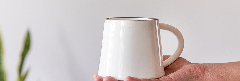 Large Ceramic Mug, Elegant White Coffee Mug, Unique Latte Mug with Handle
