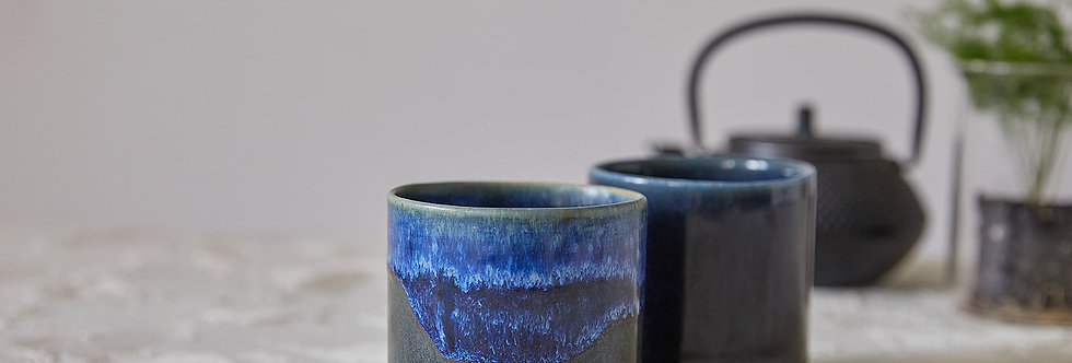 Ceramic Espresso Cup Set, 2 Modern Dark Blue Tumbler Cup, Ceramic Coffee Cups, Japanese Design, Capuccino Office Gifts