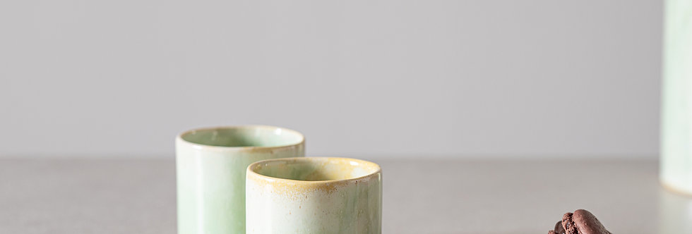 Ceramic Coffee And Tea Cups, Espresso Cup Set, Japanese Design Celadon Cups, Modern Light Green Cup, Modern Pottery Gift.