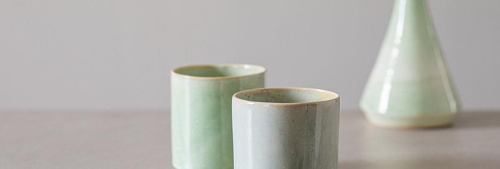 Ceramic Coffee And Tea Mug, Double Espresso Cup Set, Japanese Design Celadon Cups, Modern Light Green Cup