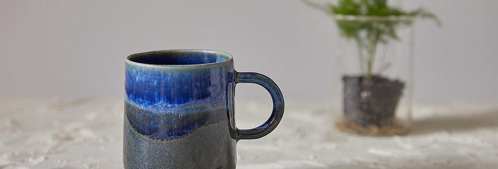 Blue Ceramic Mug, Handmade Ceramic Mug, Modern Tea Mug, Mug with Handle