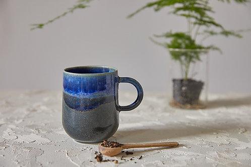 ספל קרמיקה בעבודת יד, מאג כחול לקפה ותה, כוס עם ידית לאספרסו ארוך