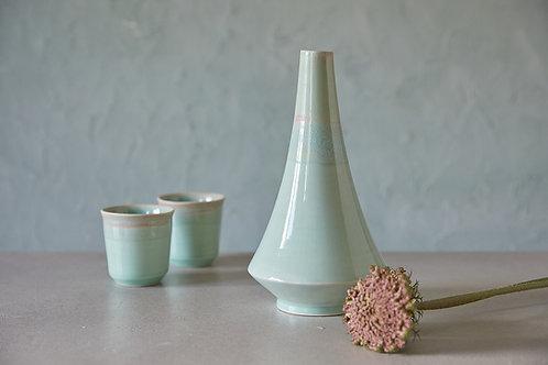 בקבוק או ואזה מקרמיקה בעבודת יד, ואזה טורקיז לפרח, בקבוק אלגנטי