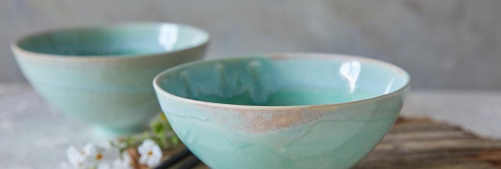Ceramic Ramen Bowl, Light Turquoise Noodles Bowl, Pottery Soup Bowl, Salad Serving Bowl, Modern Japanese Nesting Bowl