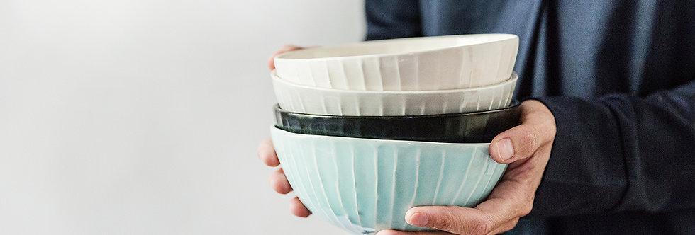 Ceramic Nesting Bowl, Textured Pottery Nesting Bowl, Ramen Soup Bowl, Handmade Stripes Bowl, Rustic Dinner Bowl