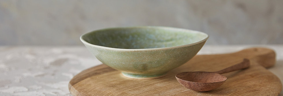 Ceramic Soup Bowl, Green Pottery Bowl, Handmade Stoneware Serving Bowl