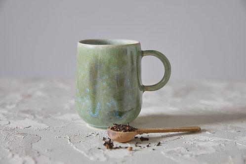 ספל קרמיקה בעבודת יד, מאג ירוק לקפה ותה, כוס עם ידית לאספרסו ארוך