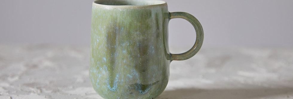 Elegant Green Blue Mug, Handmade Ceramic Mug, Tea Mug, Mug with Handle
