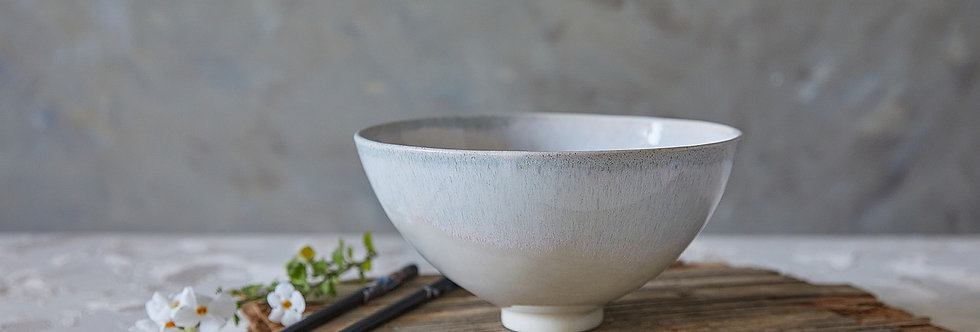 Ceramic Ramen Bowl, Off-White Pottery Bowl, Ceramic Serving Bowl, Salad Nesting Bowl