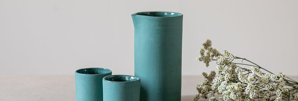 Ceramic Coffee Cups and Small Carafe, Espresso Cup Set, Modern Design Pottery Set, Dark-Green Stoneware Set