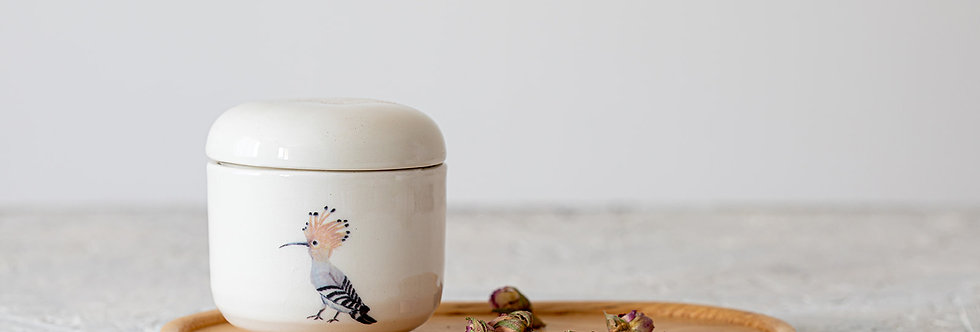 White Ceramic Jar with Lid, Japanese Sugar Bowl, Hand-Painted Hoopoe