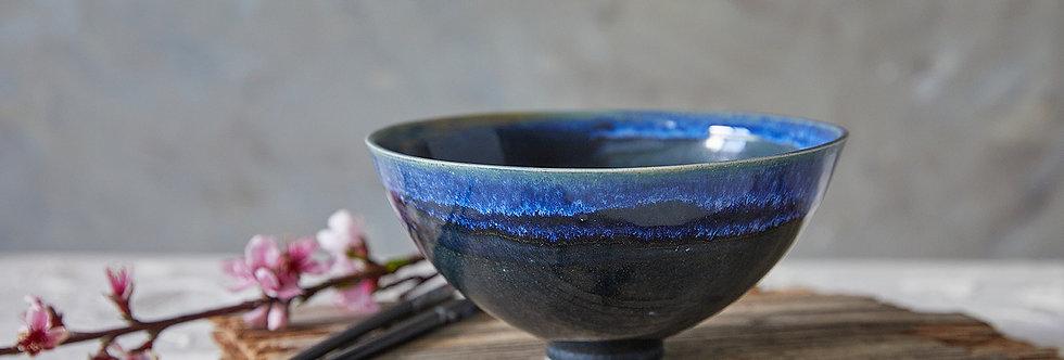 Ceramic Ramen Bowl, Blue Noodles Bowl, Pottery Soup Bowl, Salad Serving Bowl
