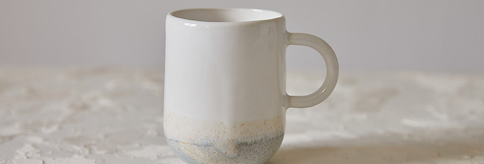 Elegant White Stone Mug, Handmade Ceramic Mug, Modern Tea Mug, Mug with Handle