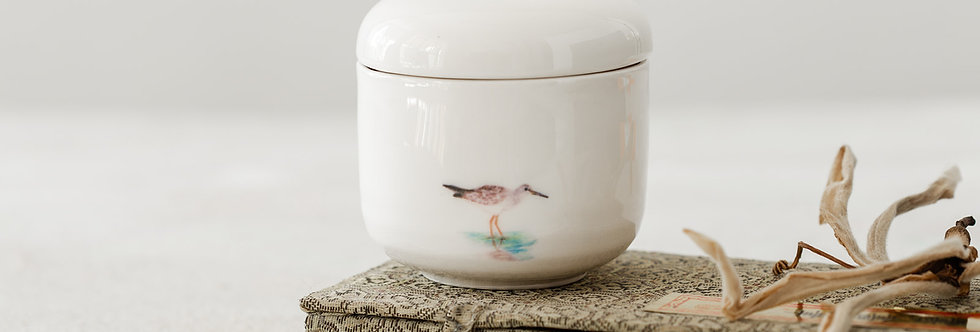 White Ceramic Jar with Lid, Japanese Sugar Bowl, Hand-Painted Redshank, Pottery Jewelry Box