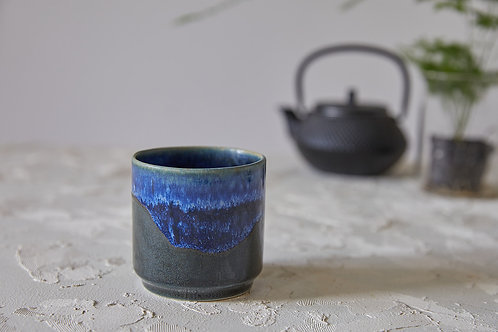 כוס קרמיקה לאספרסו ארוך או תה, כוס קרמיקה בעבודת יד, כוס קרמיקה כחולה
