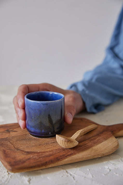 Espresso Cup Set, 2 Ceramic Coffee Cups, Stoneware Tea Cups, Japanese Design Cups, Modern Dark Blue Cup, Unique Pottery Gift, Asian Style