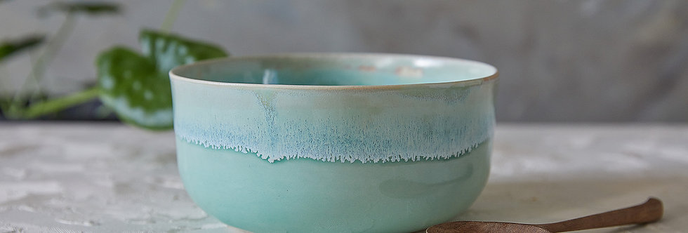 Ceramic Ramen Bowl, Light Turquoise Noodles Bowl, Pottery Soup Bowl, Salad Serving Bowl
