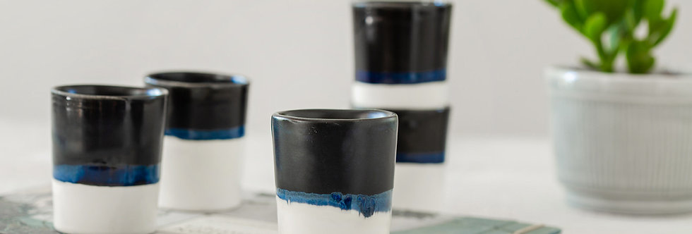 Ceramic Espresso Cup, 2 Modern Black & White Tumbler Cup, Ceramic Coffee Mug, Shot Glass, Office Gifts, Best Co-Worker Gifts