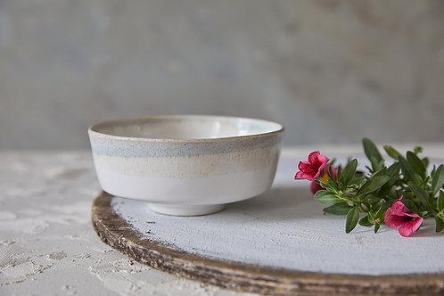 קערת קרמיקה בסגנון אסייתי, קערת אורז, קערה בעבודת יד, קערה לבנה אבן