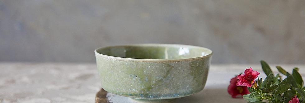 Asian Soup Bowl, Japanese Ceramic Rice Bowl, Green Blue Pottery Serving Dish