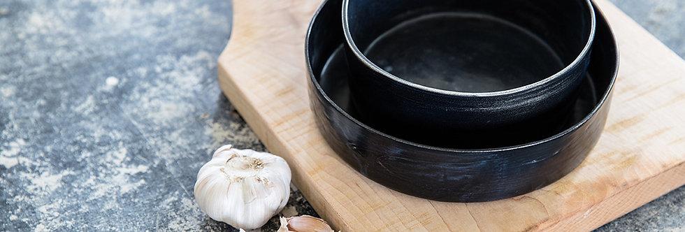 Ceramic Set Baking Bowls, Black Serving Bowl, Scandinavian Design, Minimalist Nordic Pottery Bowl